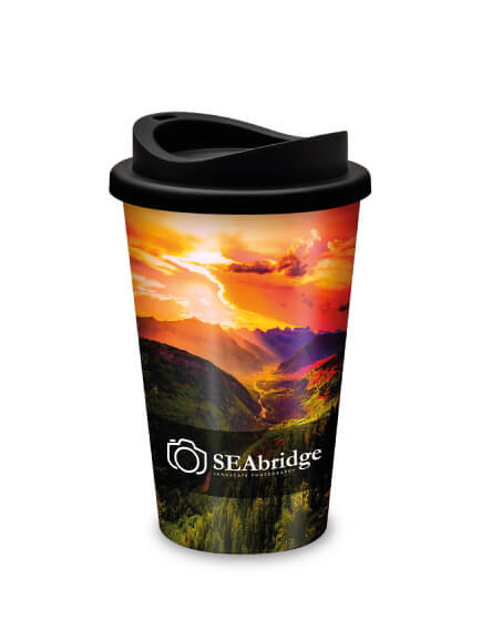 universal full colour printed reusable travel mugs