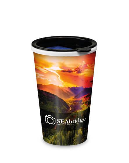 universal full colour printed reusable coffee mugs
