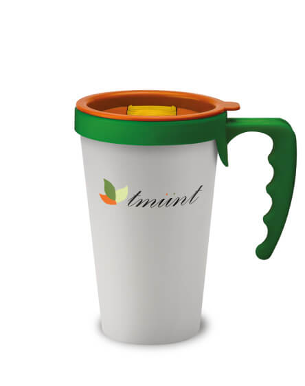 universal mugs printed and branded reusable coffee mug in white with green handles