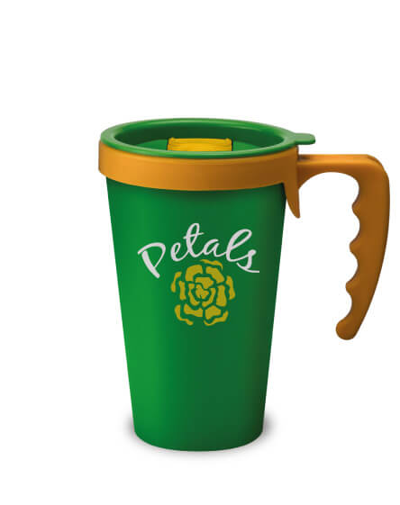 universal mugs printed and branded reusable coffee mugs green yellow handles