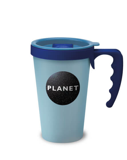 printed and branded reusable coffee travel mugs blue handles