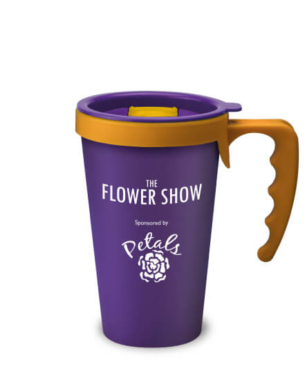 universal mugs printed and branded reusable coffee mugs in purple yellow handles