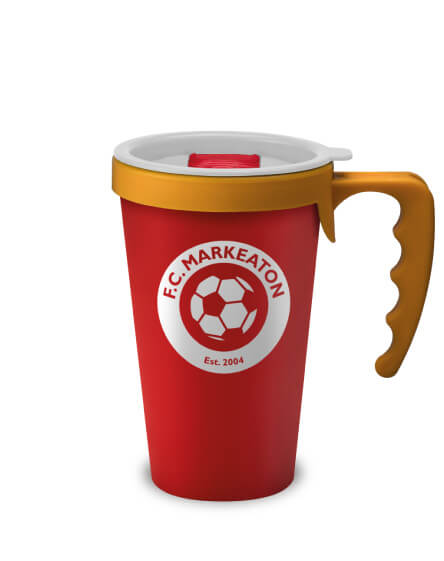 universal mugs printed and branded reusable coffee mug in red with yellow handles