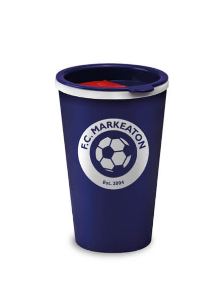 branded reusable tumblers mugs blue