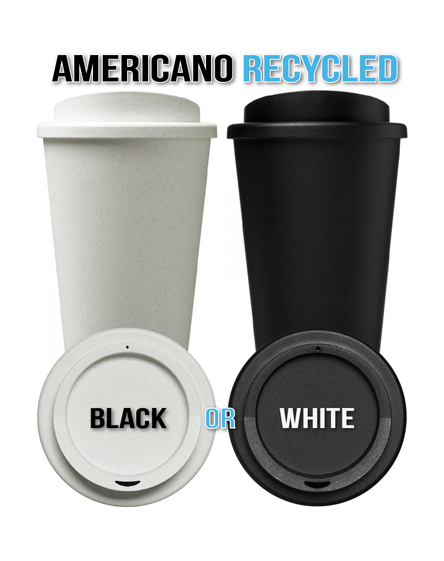 Americano 100% Recycled Branded Reusable Cups Black and White