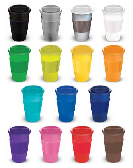americano branded reusable cups and travel mugs colour range