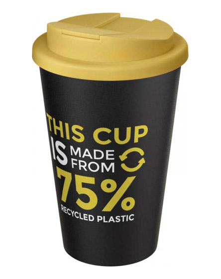 americano recycled cup with yellow spill proof lid