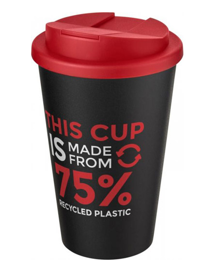 americano recycled cup with red spill proof lid
