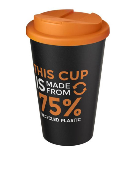 americano recycled cup with orange spill proof lid