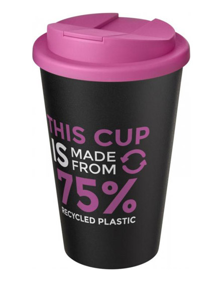 americano recycled cup with pink spill proof lid