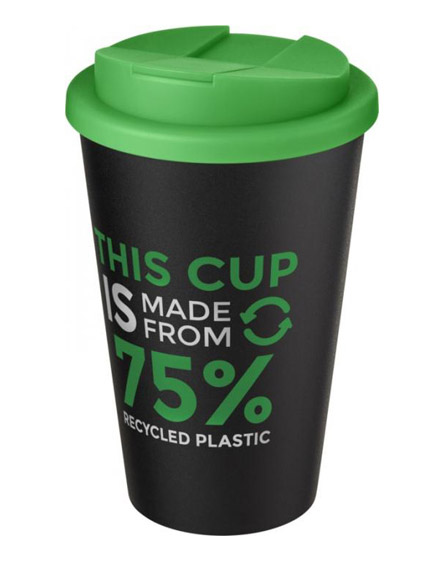 americano recycled cup with green spill proof lid