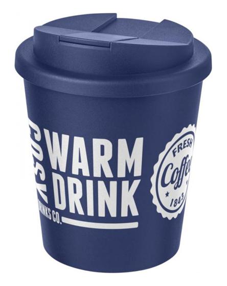 250ml spill proof lids branded reusable cups blue