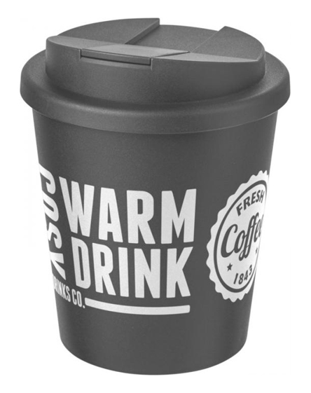 250ml spill proof lids branded reusable cups grey