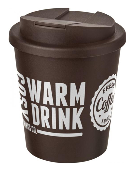 250ml spill proof lids branded reusable cups brown