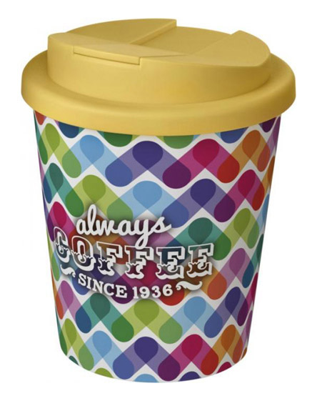americano espresso full colour 250ml reusable cups with spill proof lids yellow