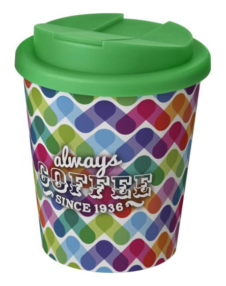 americano espresso full colour 250ml reusable cups with spill proof lids green