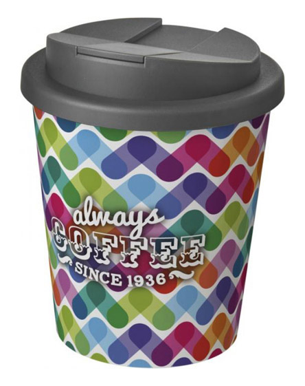 americano espresso full colour 250ml reusable cups with spill proof lids grey