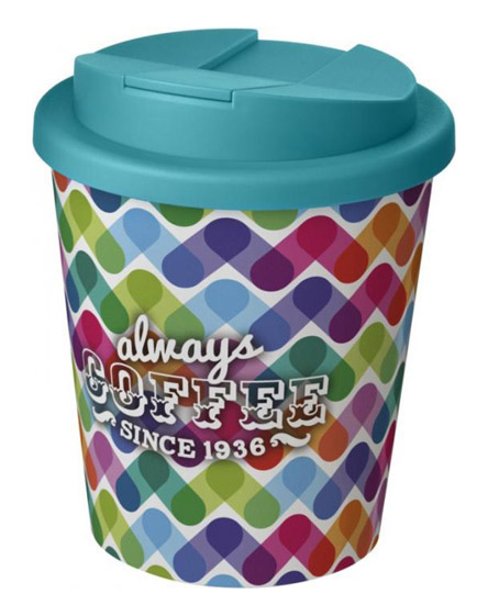 americano espresso full colour 250ml reusable cups with spill proof lids turquoise