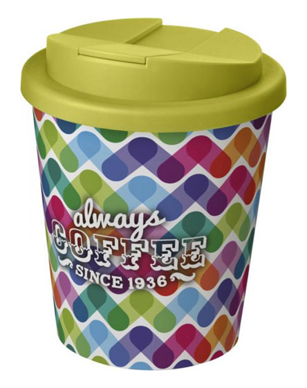 americano espresso full colour 250ml reusable cups with spill proof lids lime