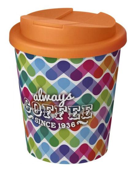 americano espresso full colour 250ml reusable cups with spill proof lids orange