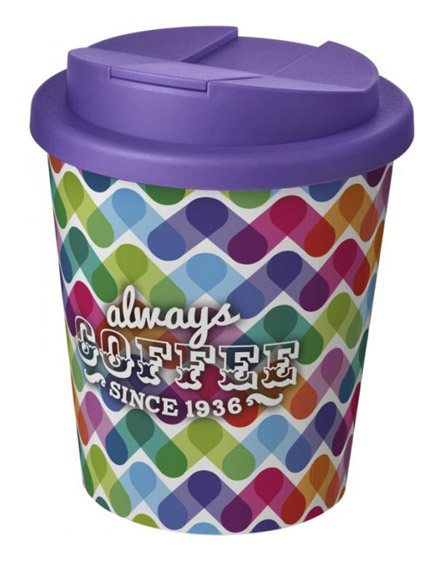 americano espresso full colour 250ml reusable cups with spill proof lids purple