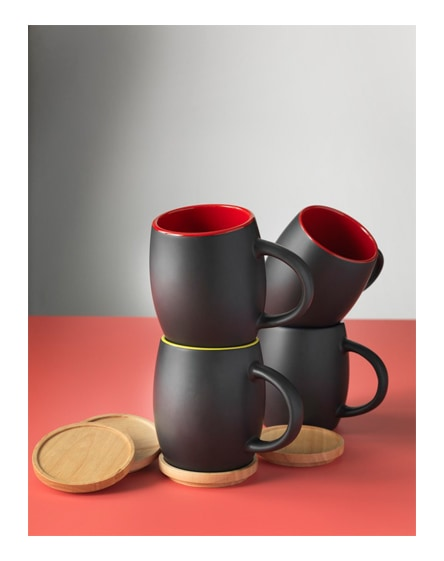 branded hearth ceramic mug with wooden lid/coaster
