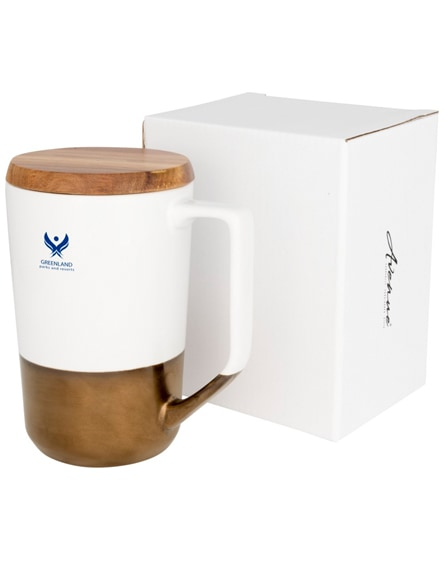 branded tahoe ceramic mug with wooden lid