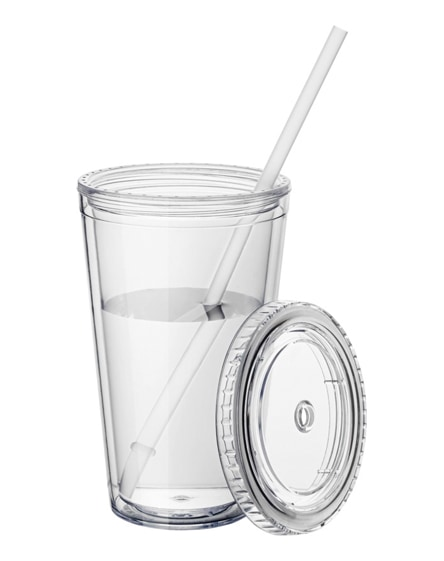 branded cyclone insulated tumbler with straw