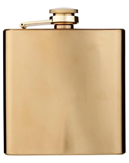 branded elixer gold hip flask