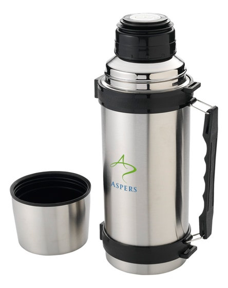 branded everest vacuum insulated flask with strap