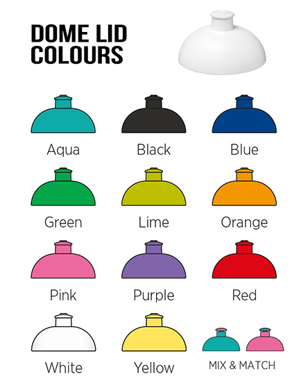 h2o branded sports water bottles dome lid colours