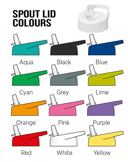 h2o branded sports water bottles spout lid colours