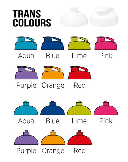 h2o branded bottles translucent colours