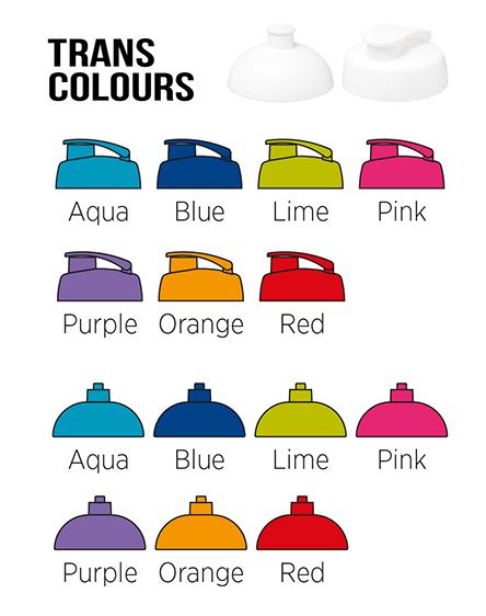 h2o branded bottles translucent colours