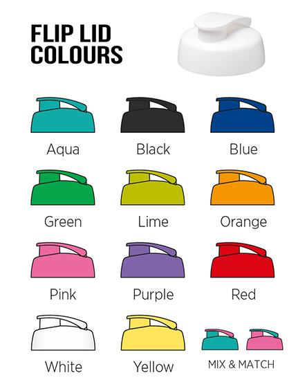 h2o sports bottles branded flip lids colours