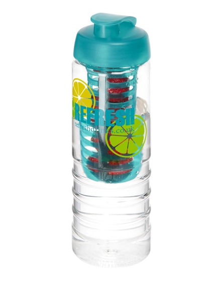 branded h2o treble flip lid bottle & infuser