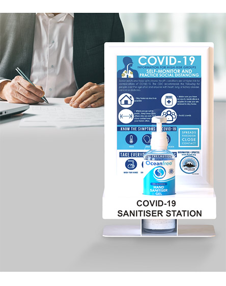 Wall mounted or Desk Covid-19 Anti-Virus Gel Sanitisation Stand Points