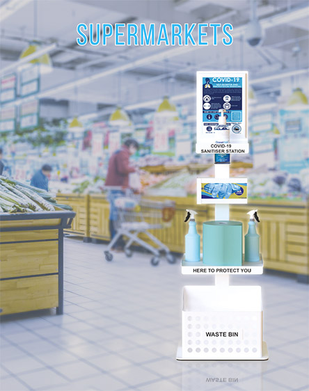 Covid-19 Anti-Virus Gel Sanitisation Stand Points for Supermarkets and Stores