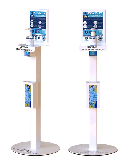 UK sanitiser stations for anitvirus cleaning including covid-19