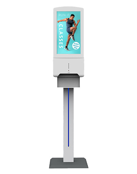 frees standing digital automatic hand sanitiser with screen