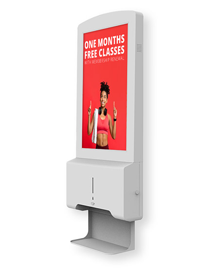 Wall mounted digital automatic hand sanitiser with screen