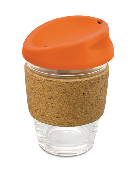 kiato branded reusable glass cork coffee cups