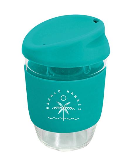 kiato branded reusable glass coffee cups aqua