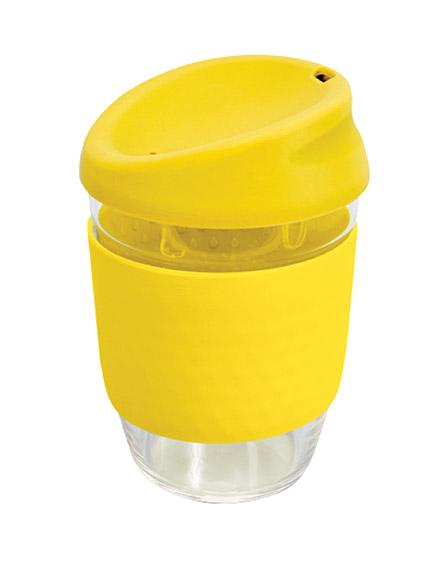 kiato branded reusable glass coffee cups yellow