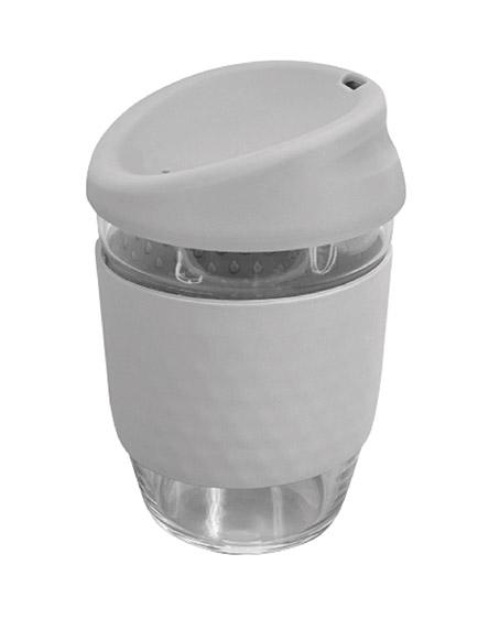 kiato branded reusable glass coffee cups grey