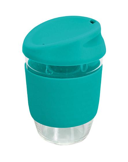 kiato branded reusable glass coffee cups turquoise aqua