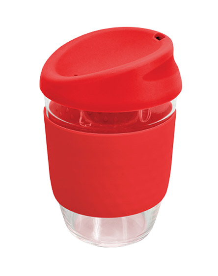 kiato branded reusable glass coffee cups red