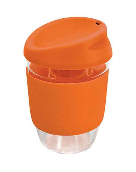 kiato branded reusable glass coffee cups orange