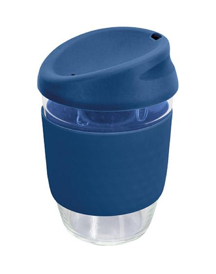 kiato branded reusable glass coffee cups blue dark