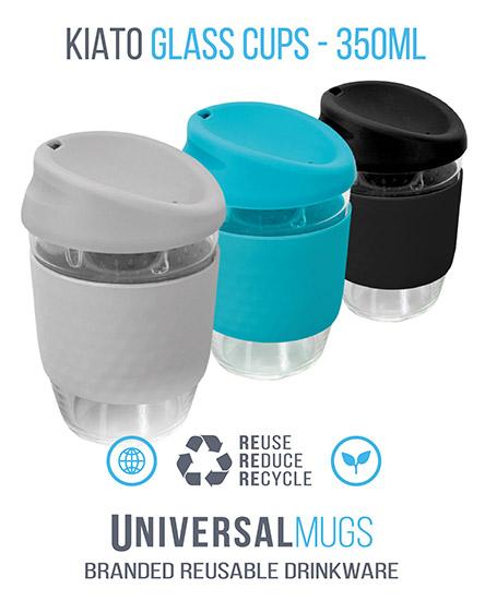 kiato branded reusable glass coffee cups trio